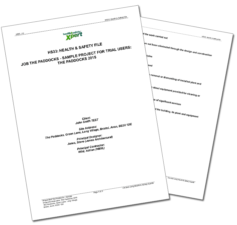 cdm health and safety file template - professional results hbxl professional services